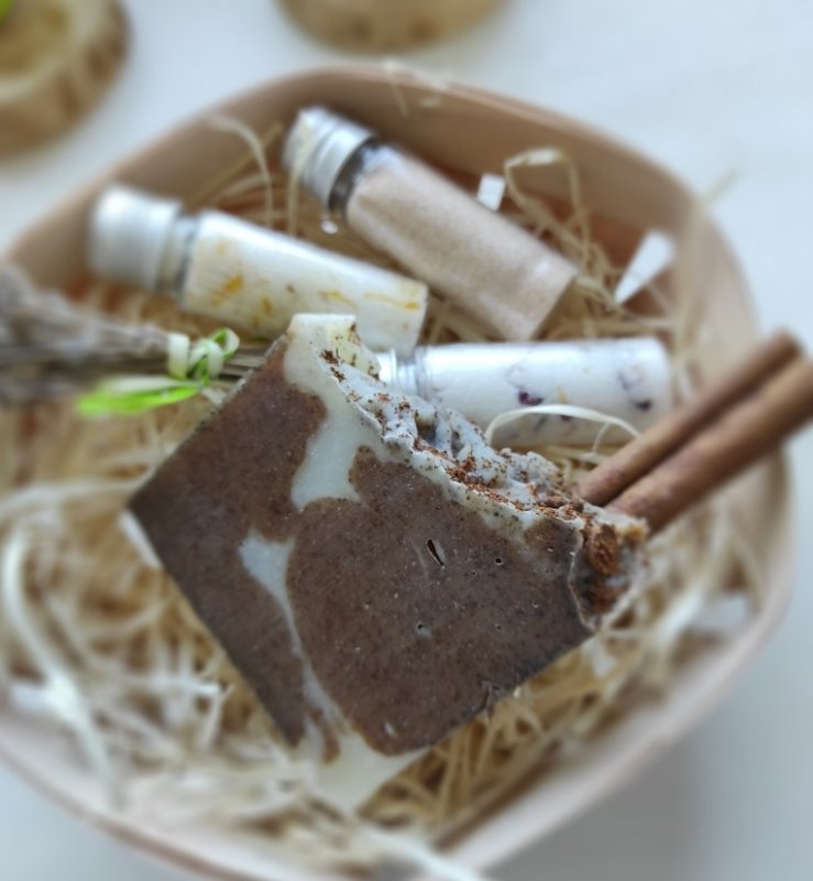 Мыло-скраб с нуля «Корица-кофе»