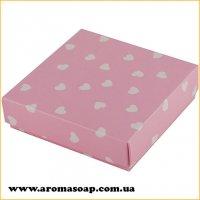 Коробочка квадро Розовая в сердечко