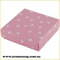 Коробочка квадро Рожева в сердечко