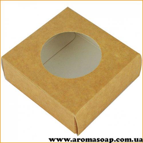 Коробка мікс з круглим віконцем Крафт