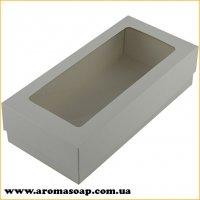 Коробка-пенал Белая с окошком прямоугольная