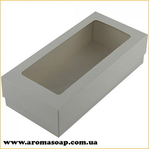 Коробка-пенал біла з віконцем прямокутна