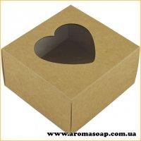 Коробка преміум Крафт з віконцем сердечко