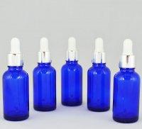Флакон косметический с пипеткой белой Ascorp стеклянный 30 мл синий набор 5 шт (732)