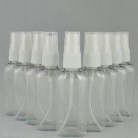 Бутылочка и Пульверизатор косметическая Ascorp плоская 50 мл прозрачная набор 10 шт (892)
