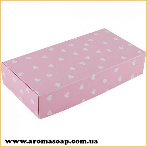 Коробка натуральная Розовая в сердечко