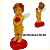 Ангелочек с розой на сердце 3D элит-форма