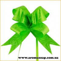 Бант самосборный Зеленый с узором 1 шт