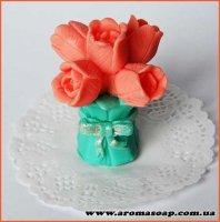 Букет тюльпанов с бантом 3D элит-форма