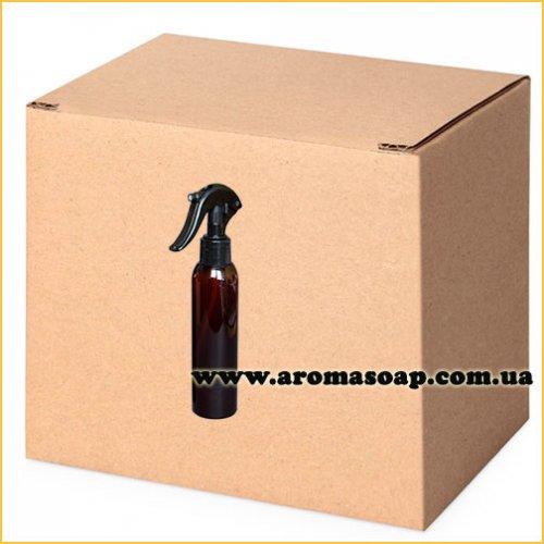 Пляшка кругла темна 150 мл + Тригер чорний (розпилювач) ОПТ 460шт