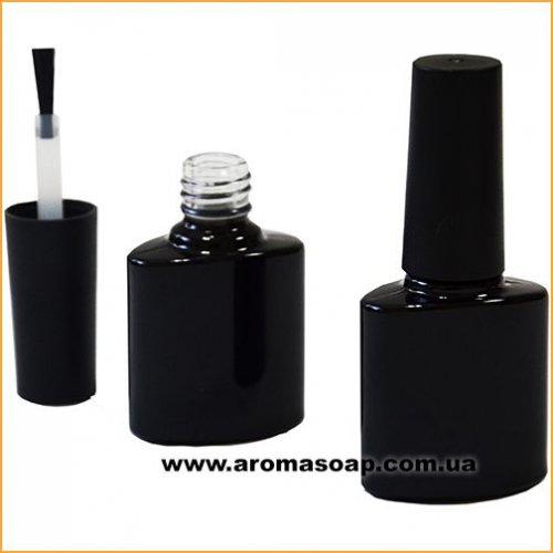 Чорний скляний флакон з пензликом 8мл