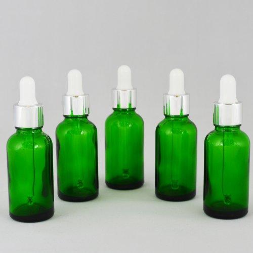 Флакон косметический с пипеткой белой Ascorp стеклянный 30 мл зеленый набор 5 шт (3674)