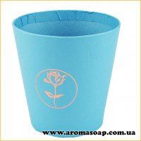 Кашпо картонне кругле з Трояндою блакитне