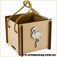 Коробочка деревянная самосборная Фламинго нюдовая