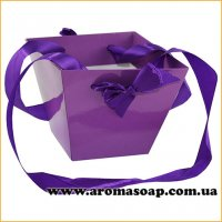 Кашпо мале картонне для квітів з ручкою Фіолетове