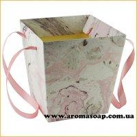 Кашпо картонное для цветов с ручкой Мраморное