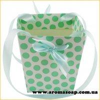 Кашпо картонне для квітів з ручкою Горошок зелений