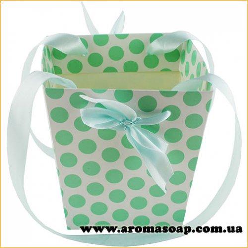 Кашпо картонное для цветов с ручкой Горошек зеленый