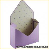 Коробка-конверт большая Сиреневая в горошек для букета