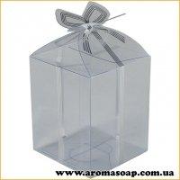 Пластиковая коробочка с серебристым бантом высокая