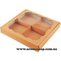 Коробка гофро квадратна з фігурним віконцем Персикова під набір