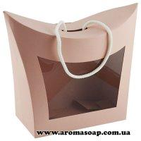 Коробка-сумочка Пудровая с окошком