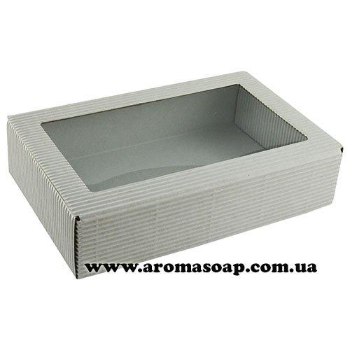 Коробка-гофро Белая с окошком Техно