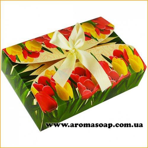 Коробка-Тюльпаны с бантом Техно