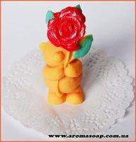 Мишка с большой розой 3D элит-форма