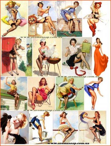 "Набір картинок ""Дівчата Pin-Up"" №02"