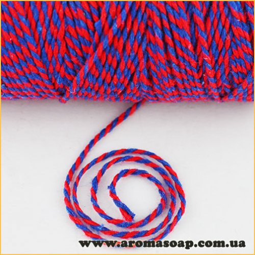 Шнур хлопковый Красный с синим 2м