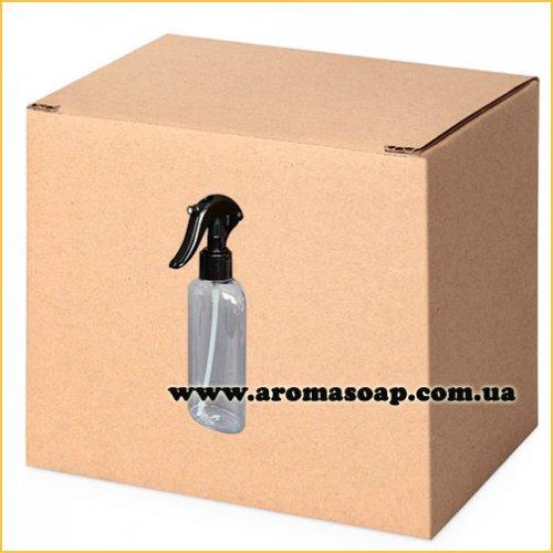 Бутылочка плоская 200 мл + Триггер черный (распылитель) ОПТ 330шт