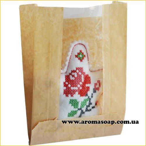 Пакетик бумажный Саше с окошком маленький