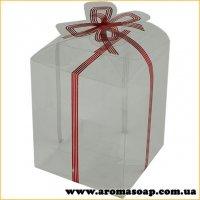 Пластикова коробочка з червоним бантом висока