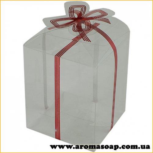 Пластиковая коробочка с красным бантом высокая
