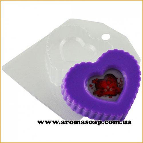 Сердечко рифленое с выемкой 77 г (пластик)