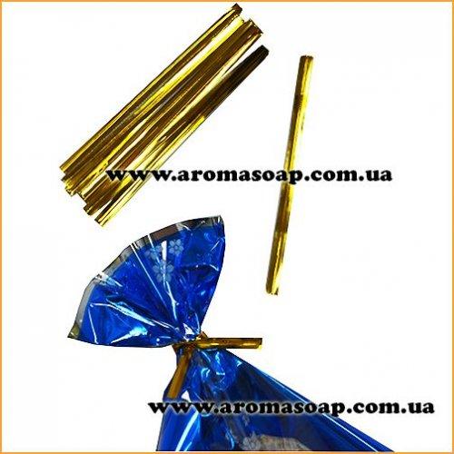 Дротові зав'язки Twist Tie золоті 50шт