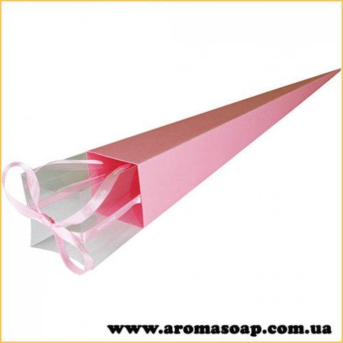 Коробка-конус для квітки Рожева