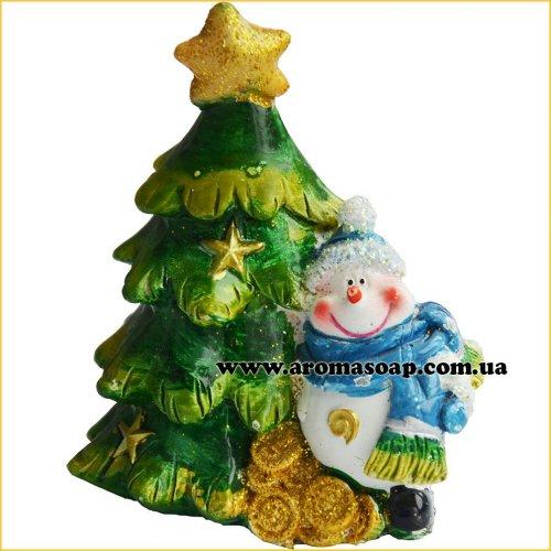 Снеговик с шарфом у елки 3D элит-форма