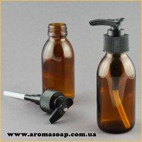 Флакон скляний коричневий 100мл з дозатором чорним