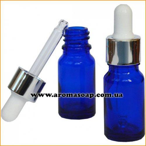 Скляний синій флакон 10мл з піпеткою Білою