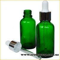 Стеклянный зеленый флакон 30 мл с пипеткой Белой