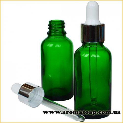 Скляний зелений флакон 30мл з піпеткою Білою
