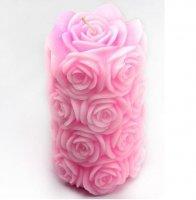 Свеча из роз большая 3D элит-форма
