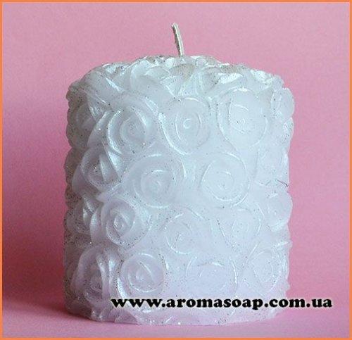 Свічка в трояндочках середня еліт-форма