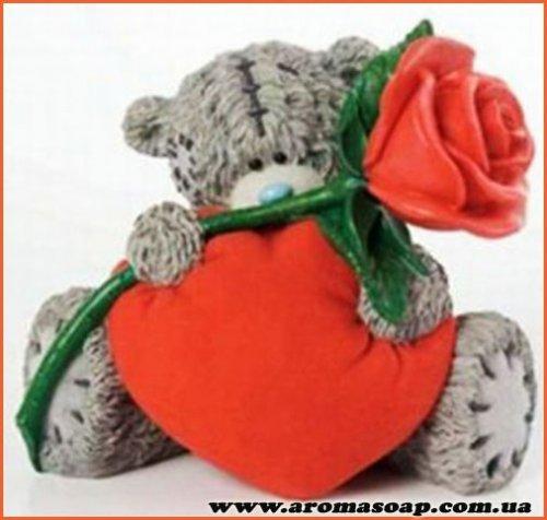 Тедді з серцем і трояндою №1 3D еліт-форма