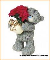 Тедди с вазоном цветов 3D элит-форма