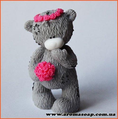 Тедди с венком и букетом 3D элит-форма