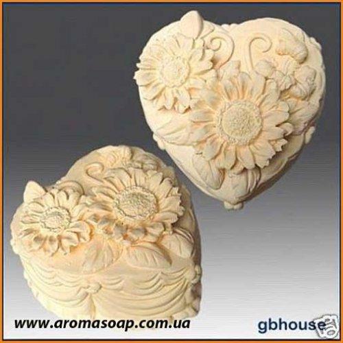 Сердечко-торт 1 (хризантемы) 3D элит-форма