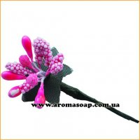 Тычинки на проволоке Розовые с ягодками и листьями 3 шт